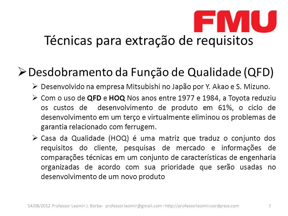 Técnicas para extração de requisitos Desdobramento da Função de Qualidade (QFD) Desenvolvido na empresa Mitsubishi no Japão por Y. Akao e S. Mizuno. C