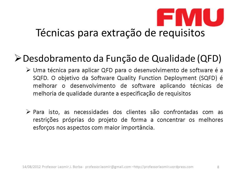 Técnicas para extração de requisitos Desdobramento da Função de Qualidade (QFD) Uma técnica para aplicar QFD para o desenvolvimento de software é a SQ