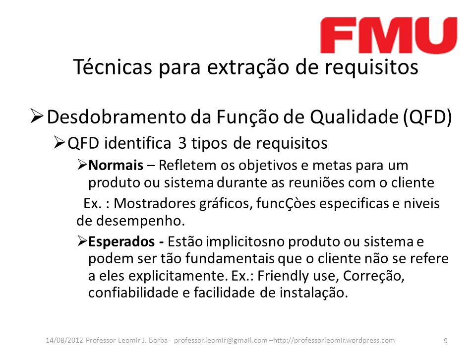 Técnicas para extração de requisitos Desdobramento da Função de Qualidade (QFD) QFD identifica 3 tipos de requisitos Normais – Refletem os objetivos e