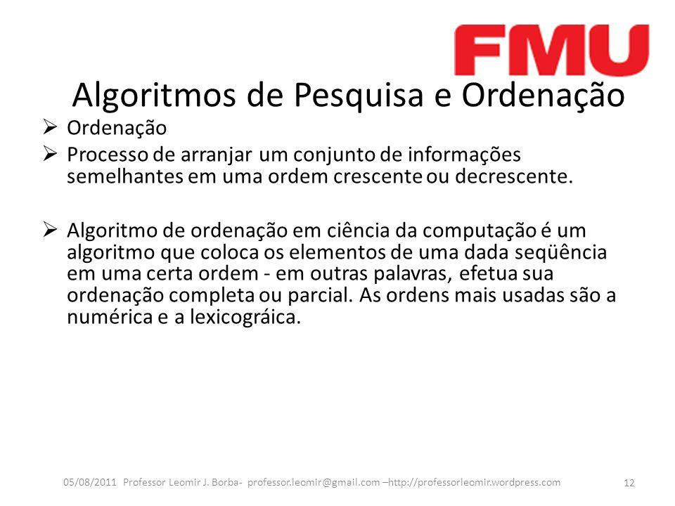 Algoritmos de Pesquisa e Ordenação Ordenação Processo de arranjar um conjunto de informações semelhantes em uma ordem crescente ou decrescente. Algori