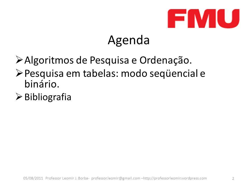 Agenda Algoritmos de Pesquisa e Ordenação. Pesquisa em tabelas: modo seqüencial e binário. Bibliografia 2 05/08/2011 Professor Leomir J. Borba- profes