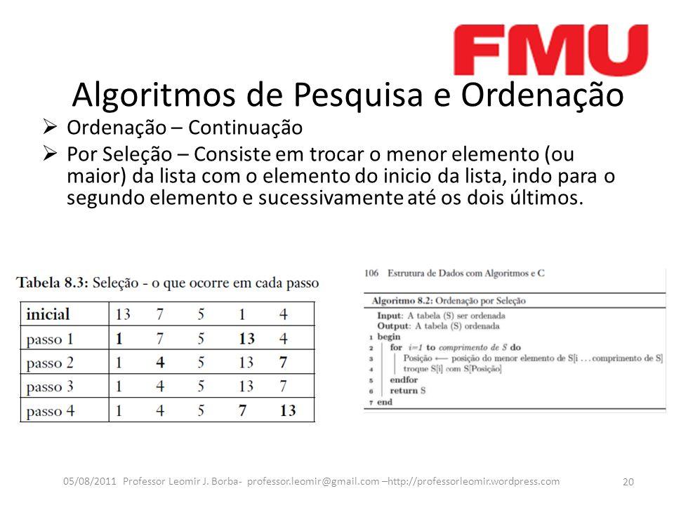 Algoritmos de Pesquisa e Ordenação Ordenação – Continuação Por Seleção – Consiste em trocar o menor elemento (ou maior) da lista com o elemento do inicio da lista, indo para o segundo elemento e sucessivamente até os dois últimos.