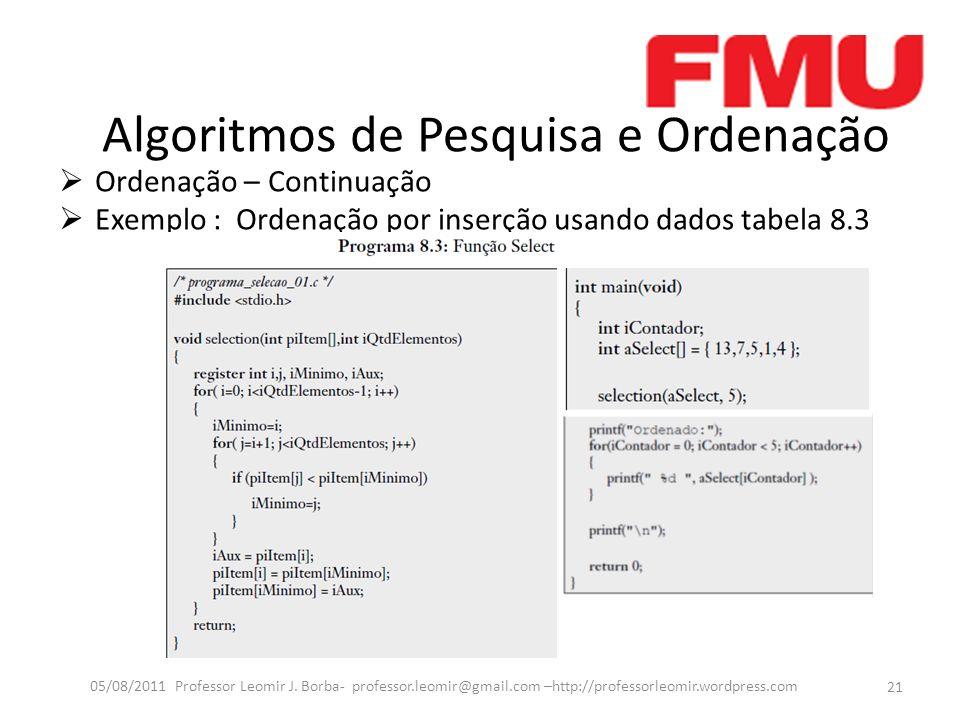 Algoritmos de Pesquisa e Ordenação Ordenação – Continuação Exemplo : Ordenação por inserção usando dados tabela 8.3 21 05/08/2011 Professor Leomir J.