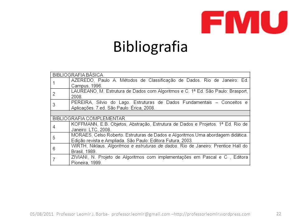 Bibliografia 05/08/2011 Professor Leomir J. Borba- professor.leomir@gmail.com –http://professorleomir.wordpress.com 22 BIBLIOGRAFIA BÁSICA 1 AZEREDO,