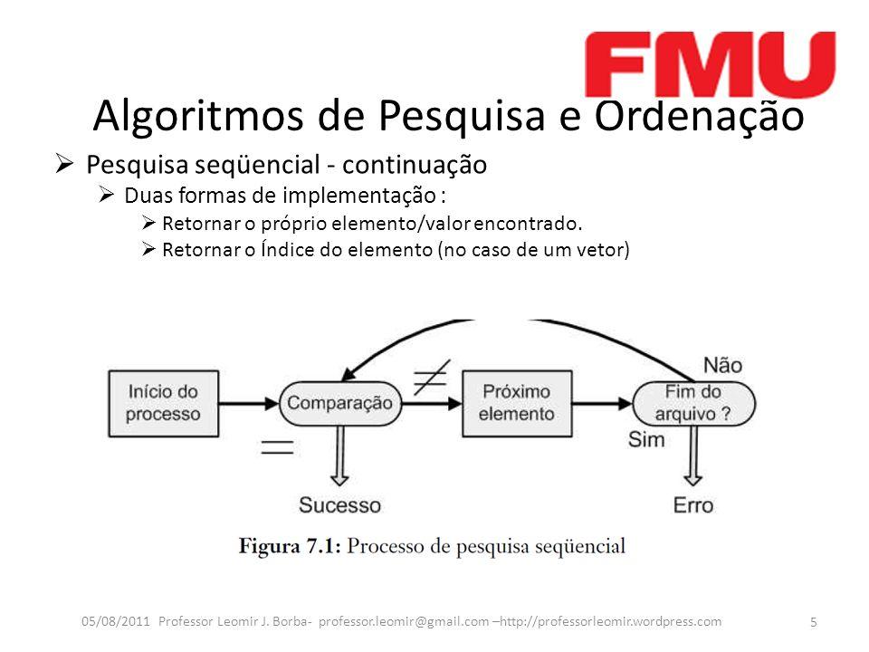 Algoritmos de Pesquisa e Ordenação Pesquisa seqüencial - continuação Duas formas de implementação : Retornar o próprio elemento/valor encontrado.