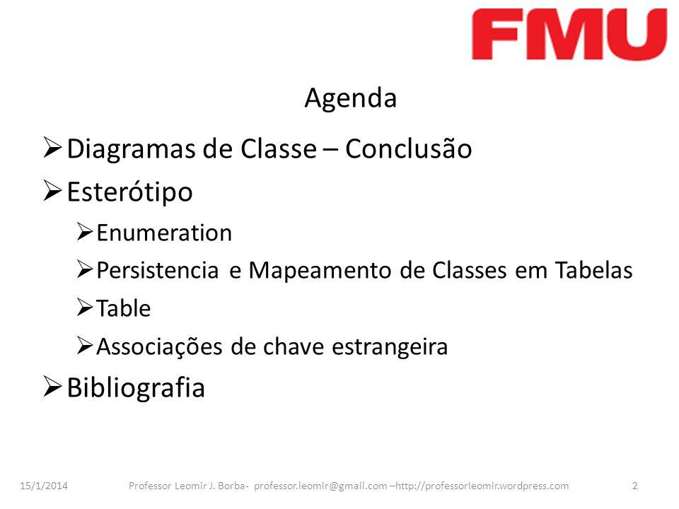 15/1/2014 Professor Leomir J. Borba- professor.leomir@gmail.com –http://professorleomir.wordpress.com2 Agenda Diagramas de Classe – Conclusão Esteróti