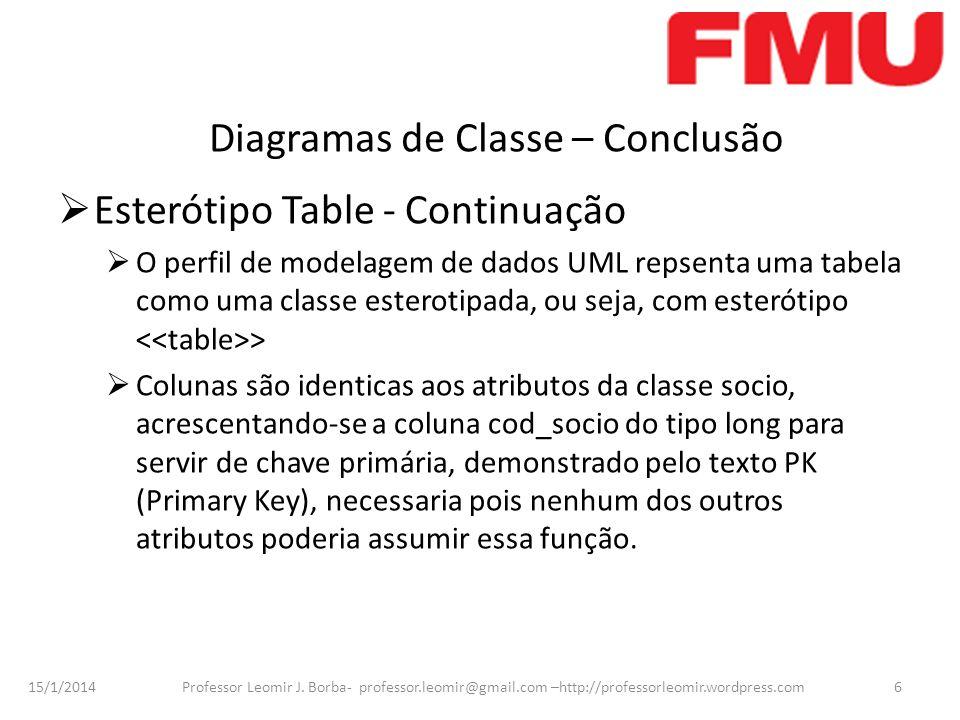 15/1/2014 Professor Leomir J. Borba- professor.leomir@gmail.com –http://professorleomir.wordpress.com6 Diagramas de Classe – Conclusão Esterótipo Tabl