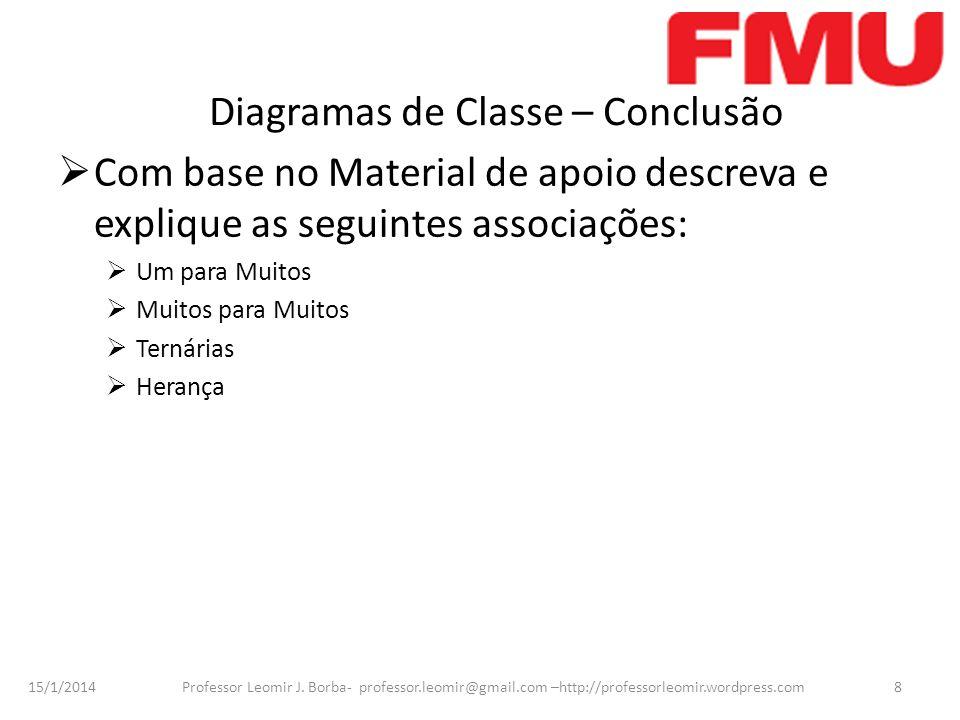 15/1/2014 Professor Leomir J. Borba- professor.leomir@gmail.com –http://professorleomir.wordpress.com8 Diagramas de Classe – Conclusão Com base no Mat