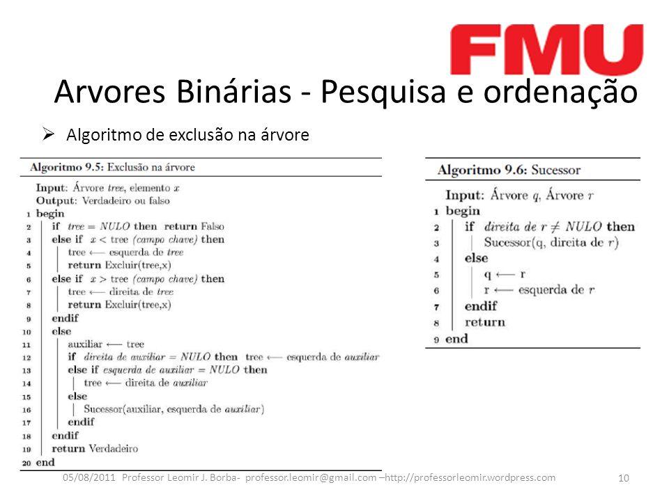 Arvores Binárias - Pesquisa e ordenação Algoritmo de exclusão na árvore 10 05/08/2011 Professor Leomir J.