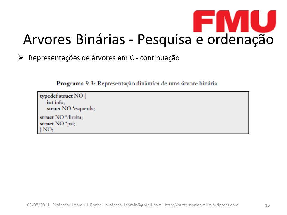 Arvores Binárias - Pesquisa e ordenação Representações de árvores em C - continuação 16 05/08/2011 Professor Leomir J.