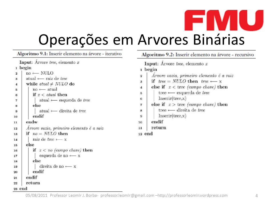 Operações em Arvores Binárias 4 05/08/2011 Professor Leomir J.