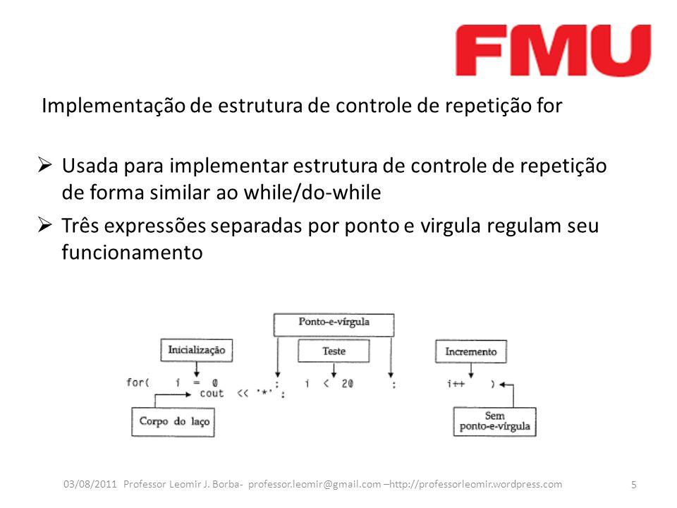 Implementação de estrutura de controle de repetição for Usada para implementar estrutura de controle de repetição de forma similar ao while/do-while Três expressões separadas por ponto e virgula regulam seu funcionamento 5 03/08/2011 Professor Leomir J.