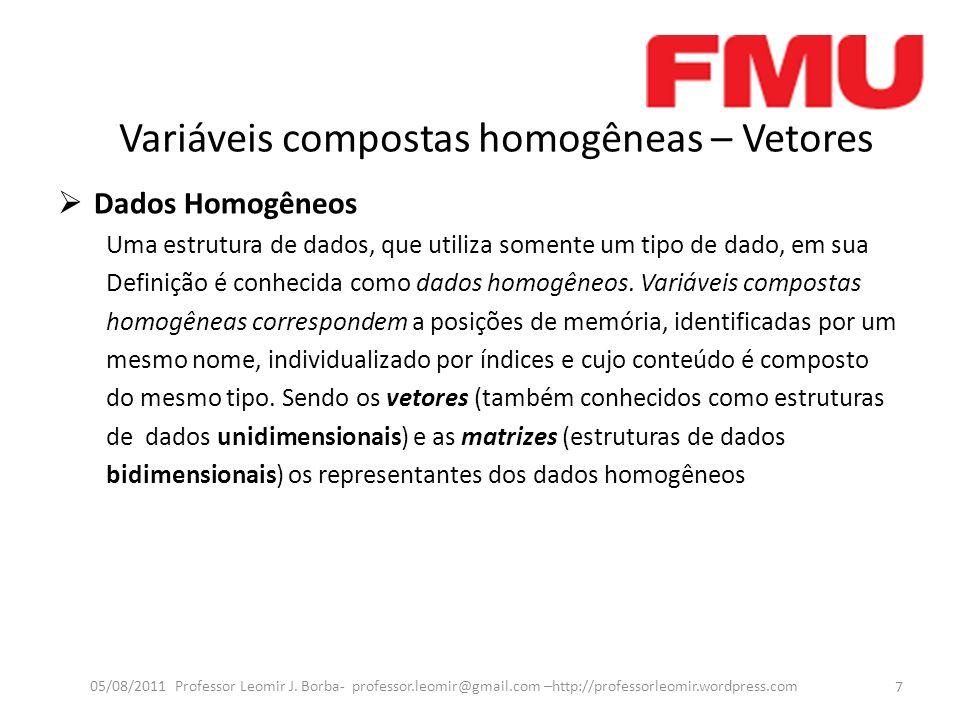 Variáveis compostas homogêneas – Vetores Dados Homogêneos Uma estrutura de dados, que utiliza somente um tipo de dado, em sua Definição é conhecida como dados homogêneos.