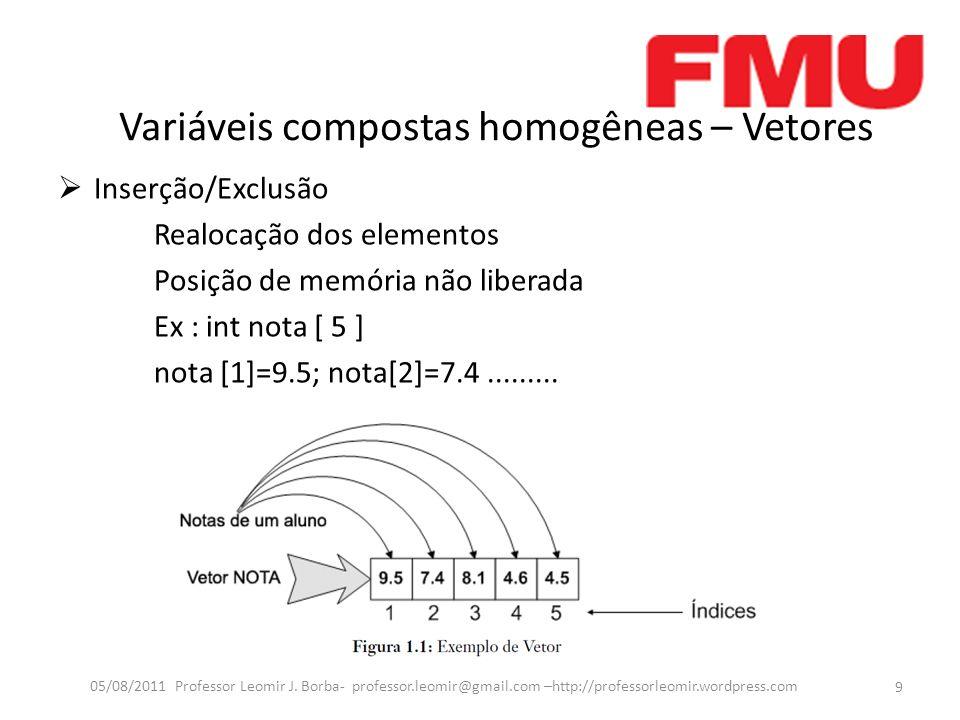 Variáveis compostas homogêneas – Vetores Inserção/Exclusão Realocação dos elementos Posição de memória não liberada Ex : int nota [ 5 ] nota [1]=9.5; nota[2]=7.4.........