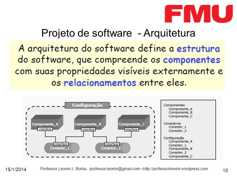 15/1/2014 Professor Leomir J. Borba- professor.leomir@gmail.com –http://professorleomir.wordpress.com 10 Projeto de software - Arquitetura