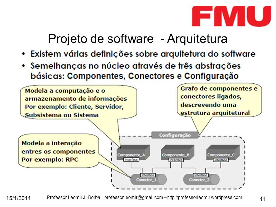 15/1/2014 Professor Leomir J. Borba- professor.leomir@gmail.com –http://professorleomir.wordpress.com 11 Projeto de software - Arquitetura
