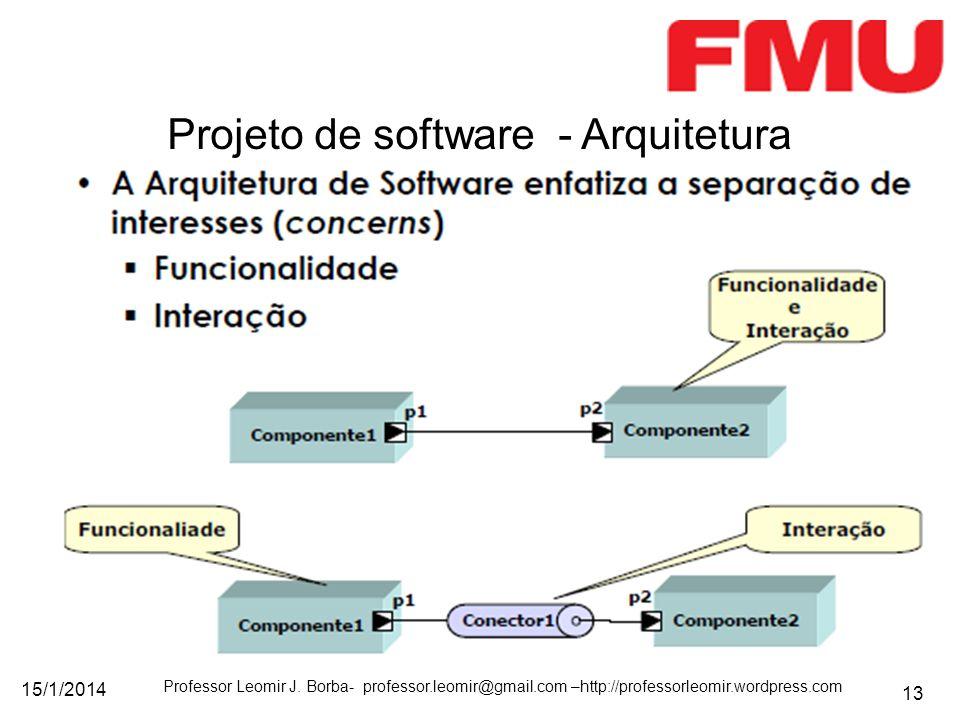 15/1/2014 Professor Leomir J. Borba- professor.leomir@gmail.com –http://professorleomir.wordpress.com 13 Projeto de software - Arquitetura