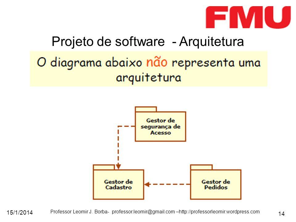 15/1/2014 Professor Leomir J. Borba- professor.leomir@gmail.com –http://professorleomir.wordpress.com 14 Projeto de software - Arquitetura