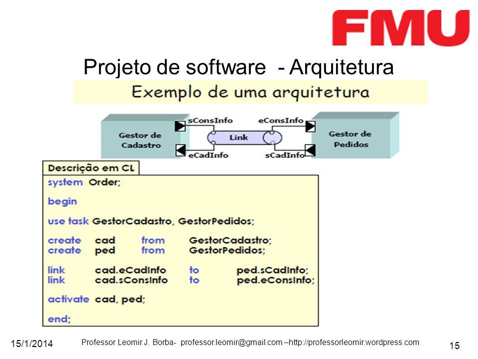 15/1/2014 Professor Leomir J. Borba- professor.leomir@gmail.com –http://professorleomir.wordpress.com 15 Projeto de software - Arquitetura