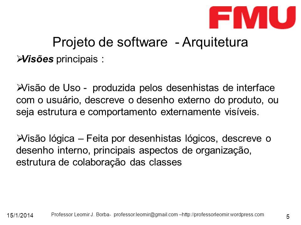 15/1/2014 Professor Leomir J. Borba- professor.leomir@gmail.com –http://professorleomir.wordpress.com 5 Visões principais : Visão de Uso - produzida p