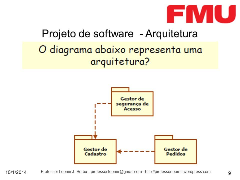 15/1/2014 Professor Leomir J. Borba- professor.leomir@gmail.com –http://professorleomir.wordpress.com 9 Projeto de software - Arquitetura