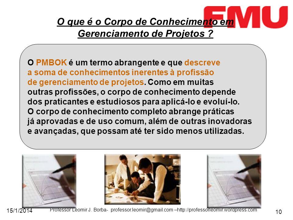 15/1/2014 Professor Leomir J. Borba- professor.leomir@gmail.com –http://professorleomir.wordpress.com 10 O que é o Corpo de Conhecimento em Gerenciame