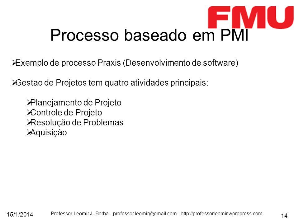 15/1/2014 Professor Leomir J. Borba- professor.leomir@gmail.com –http://professorleomir.wordpress.com 14 Processo baseado em PMI Exemplo de processo P