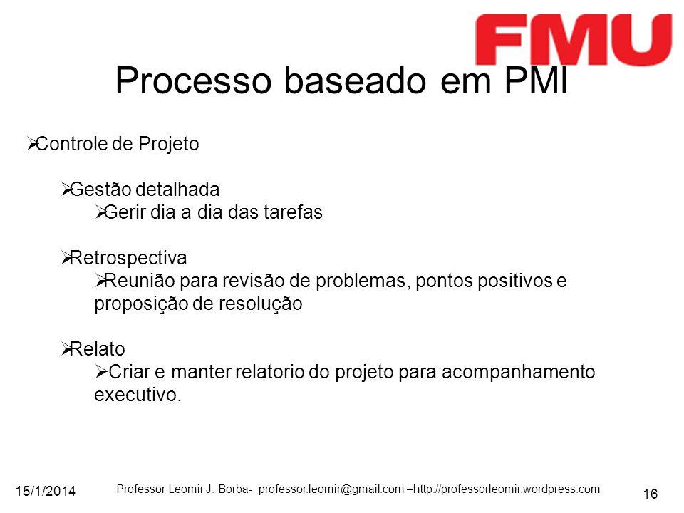 15/1/2014 Professor Leomir J. Borba- professor.leomir@gmail.com –http://professorleomir.wordpress.com 16 Processo baseado em PMI Controle de Projeto G