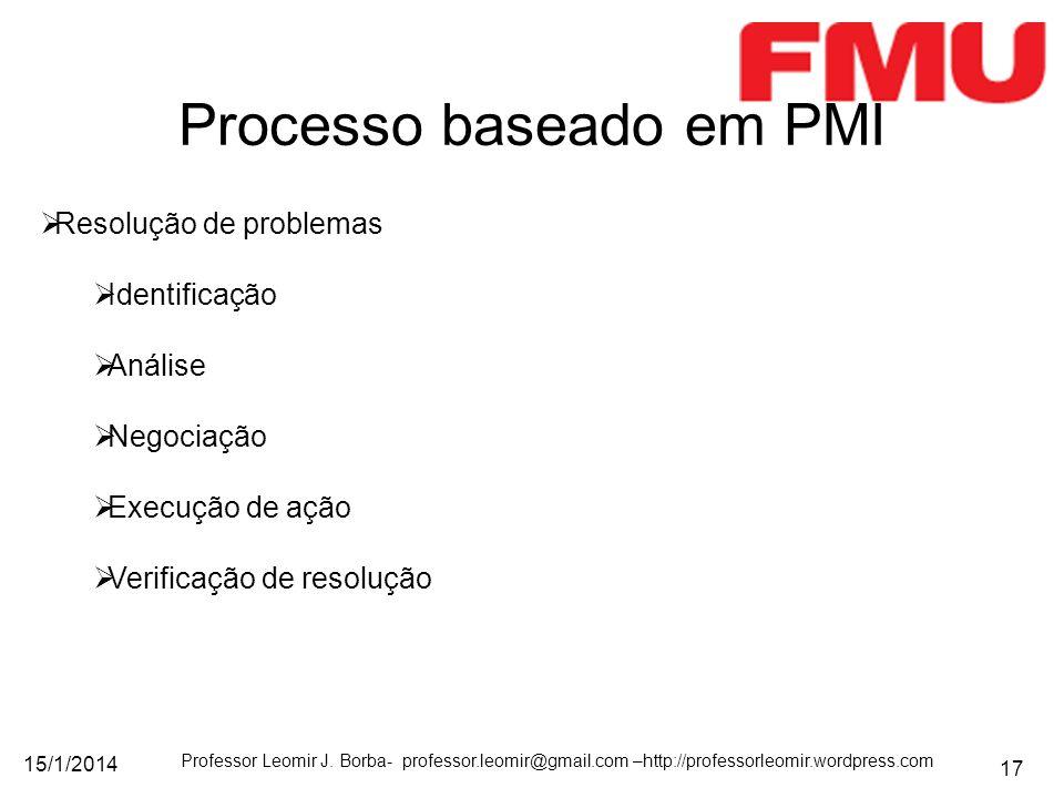 15/1/2014 Professor Leomir J. Borba- professor.leomir@gmail.com –http://professorleomir.wordpress.com 17 Processo baseado em PMI Resolução de problema