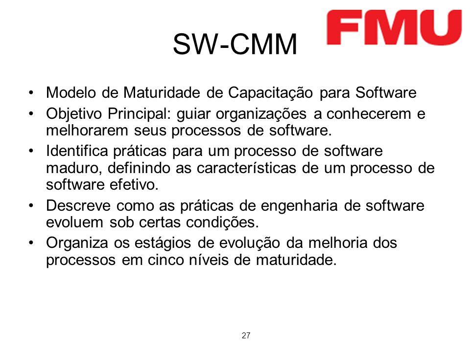 27 SW-CMM Modelo de Maturidade de Capacitação para Software Objetivo Principal: guiar organizações a conhecerem e melhorarem seus processos de software.
