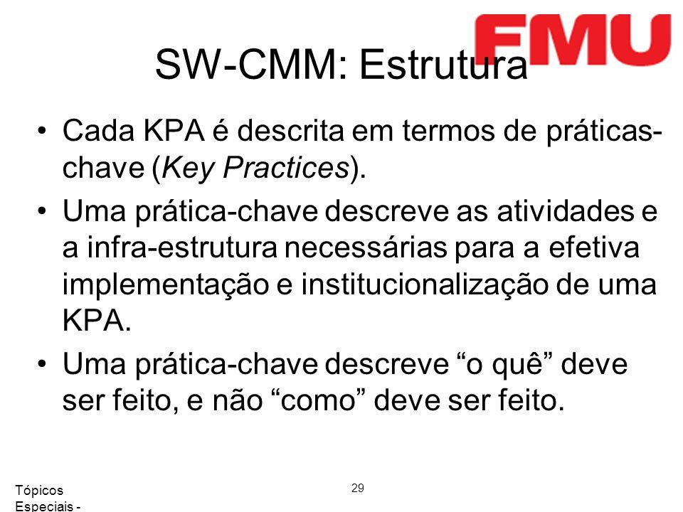 Tópicos Especiais - Qualidade de Software 2008/2 29 SW-CMM: Estrutura Cada KPA é descrita em termos de práticas- chave (Key Practices). Uma prática-ch