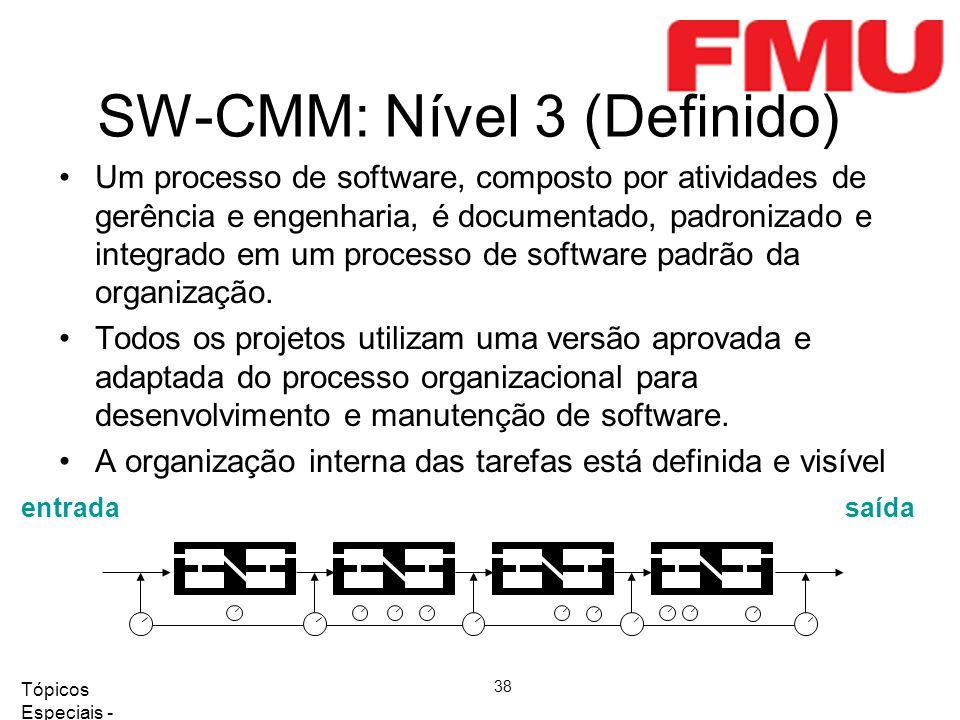 Tópicos Especiais - Qualidade de Software 2008/2 38 SW-CMM: Nível 3 (Definido) entradasaída Um processo de software, composto por atividades de gerência e engenharia, é documentado, padronizado e integrado em um processo de software padrão da organização.