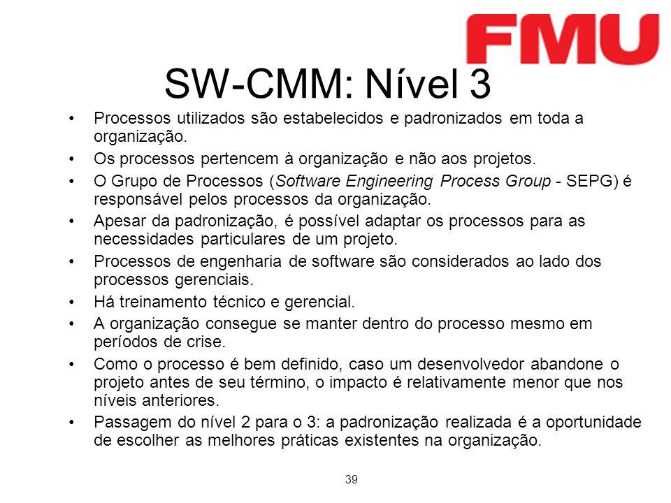39 SW-CMM: Nível 3 Processos utilizados são estabelecidos e padronizados em toda a organização. Os processos pertencem à organização e não aos projeto