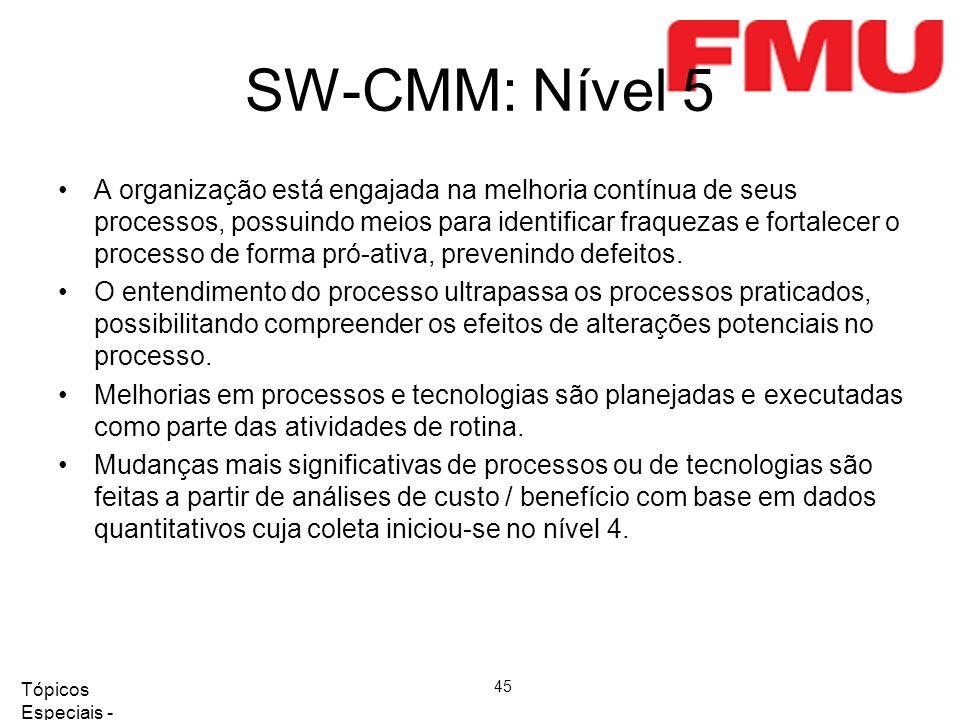 Tópicos Especiais - Qualidade de Software 2008/2 45 SW-CMM: Nível 5 A organização está engajada na melhoria contínua de seus processos, possuindo meios para identificar fraquezas e fortalecer o processo de forma pró-ativa, prevenindo defeitos.