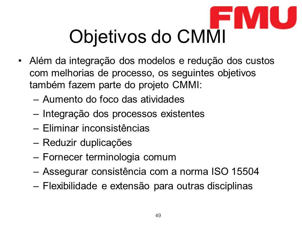 49 Objetivos do CMMI Além da integração dos modelos e redução dos custos com melhorias de processo, os seguintes objetivos também fazem parte do proje