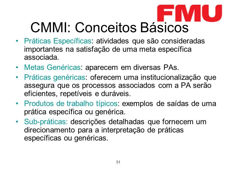 51 CMMI: Conceitos Básicos Práticas Específicas: atividades que são consideradas importantes na satisfação de uma meta específica associada. Metas Gen