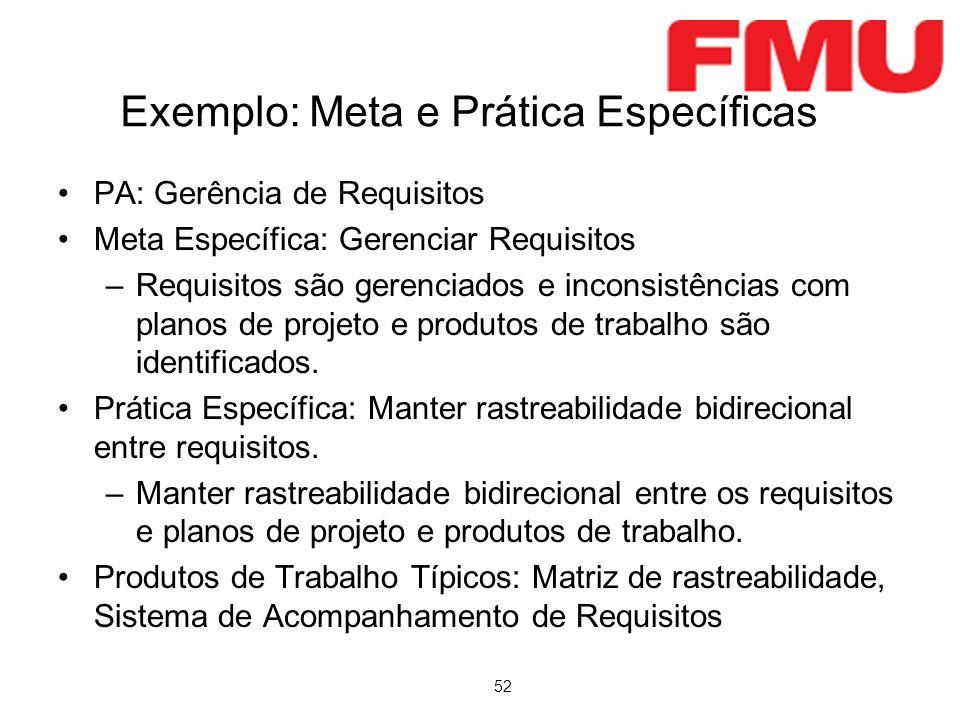 52 Exemplo: Meta e Prática Específicas PA: Gerência de Requisitos Meta Específica: Gerenciar Requisitos –Requisitos são gerenciados e inconsistências com planos de projeto e produtos de trabalho são identificados.