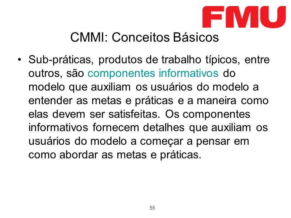 55 CMMI: Conceitos Básicos Sub-práticas, produtos de trabalho típicos, entre outros, são componentes informativos do modelo que auxiliam os usuários do modelo a entender as metas e práticas e a maneira como elas devem ser satisfeitas.