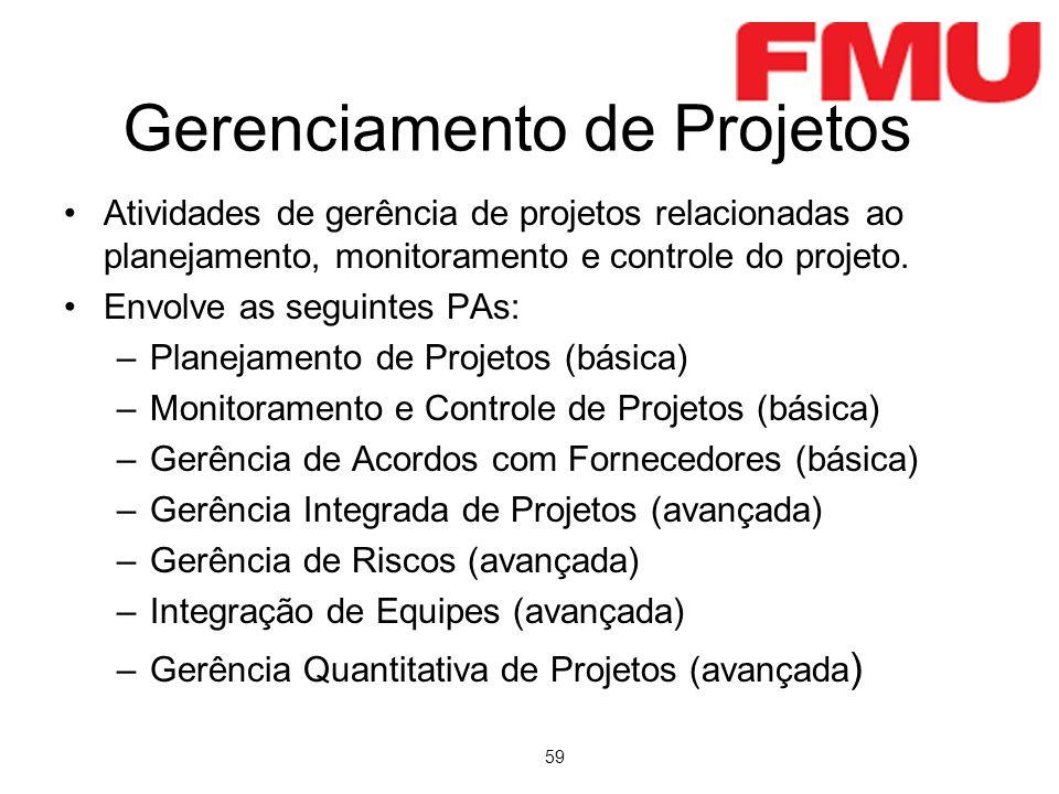 59 Gerenciamento de Projetos Atividades de gerência de projetos relacionadas ao planejamento, monitoramento e controle do projeto. Envolve as seguinte