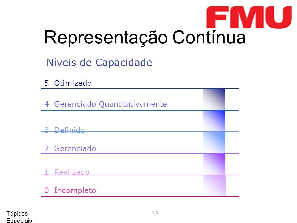 Tópicos Especiais - Qualidade de Software 2008/2 65 Representação Contínua 5 Otimizado 4 Gerenciado Quantitativamente 3 Definido 2 Gerenciado 1 Realizado 0 Incompleto Níveis de Capacidade
