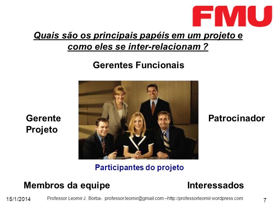 15/1/2014 Professor Leomir J. Borba- professor.leomir@gmail.com –http://professorleomir.wordpress.com 7 Quais são os principais papéis em um projeto e