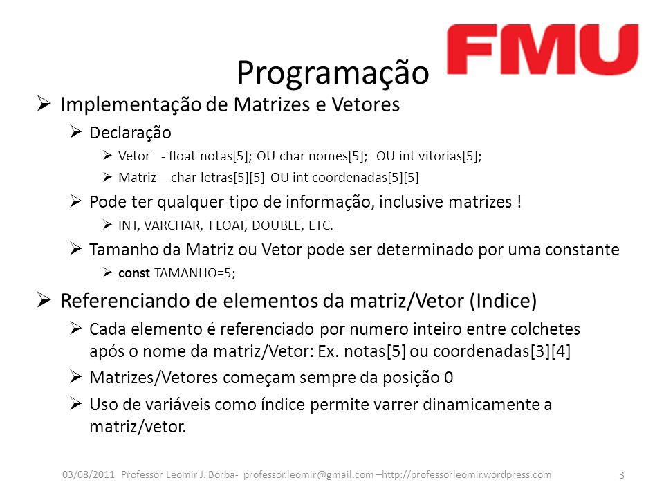Programação Implementação de Matrizes e Vetores Declaração Vetor - float notas[5]; OU char nomes[5]; OU int vitorias[5]; Matriz – char letras[5][5] OU