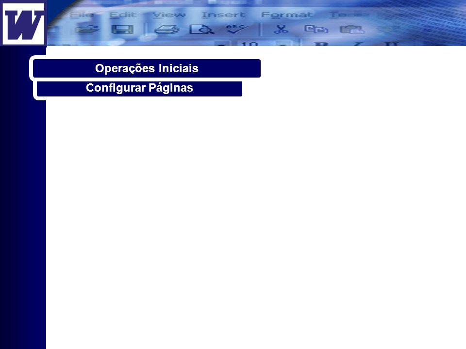 Configurar Páginas Operações Iniciais