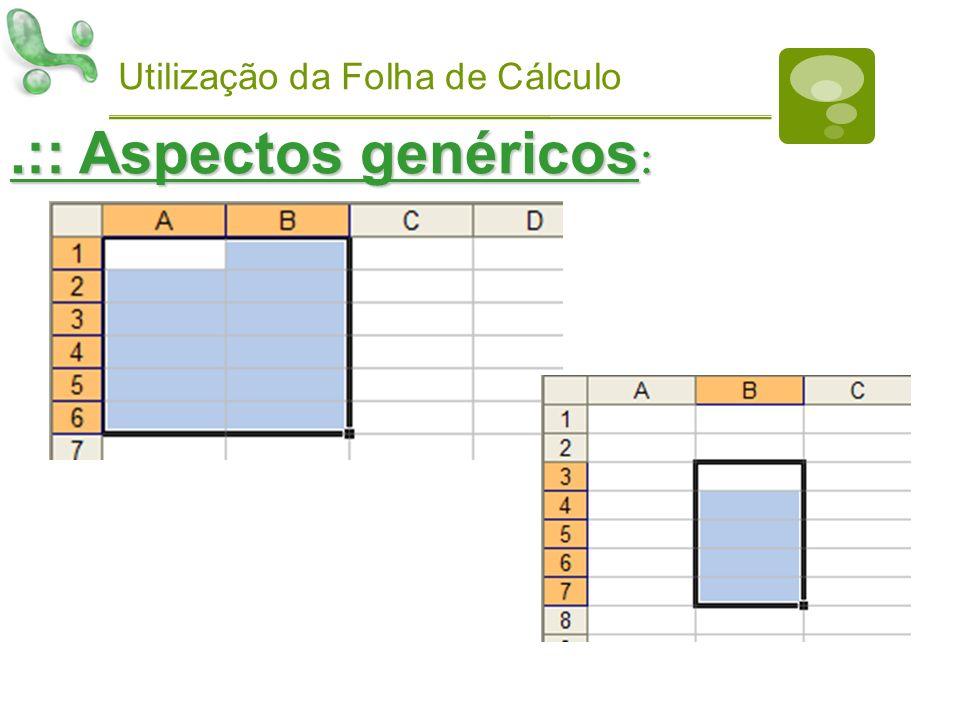 Utilização da Folha de Cálculo.:: Aspectos genéricos :