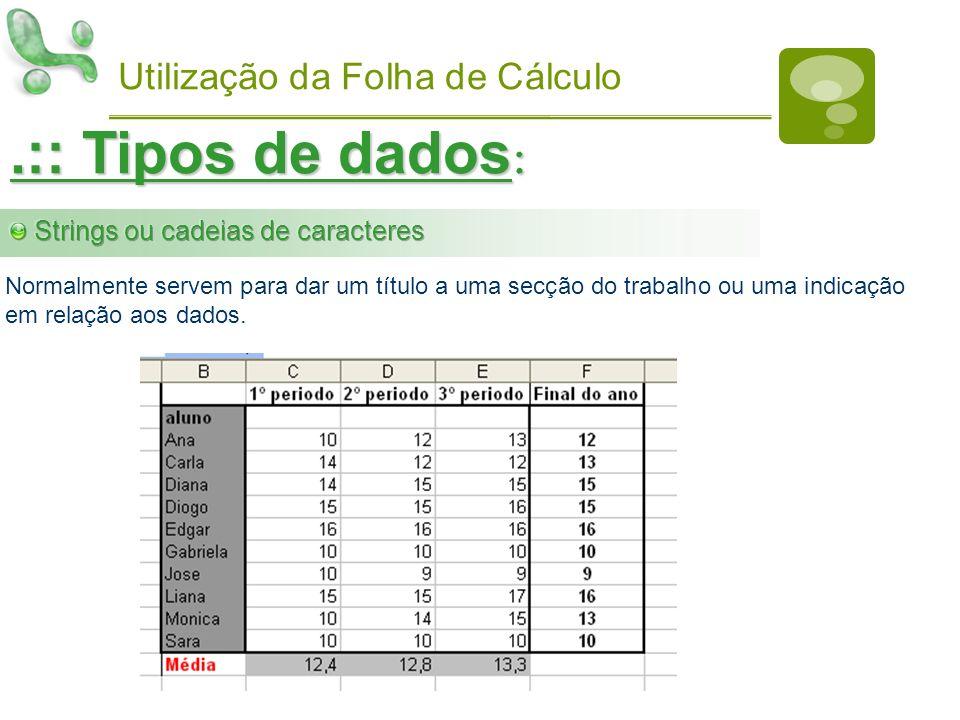 Utilização da Folha de Cálculo.:: Tipos de dados : Normalmente servem para dar um título a uma secção do trabalho ou uma indicação em relação aos dado