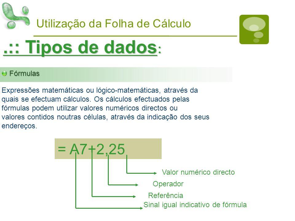 Utilização da Folha de Cálculo.:: Tipos de dados : Expressões matemáticas ou lógico-matemáticas, através daquais se efectuam cálculos. Os cálculos efe