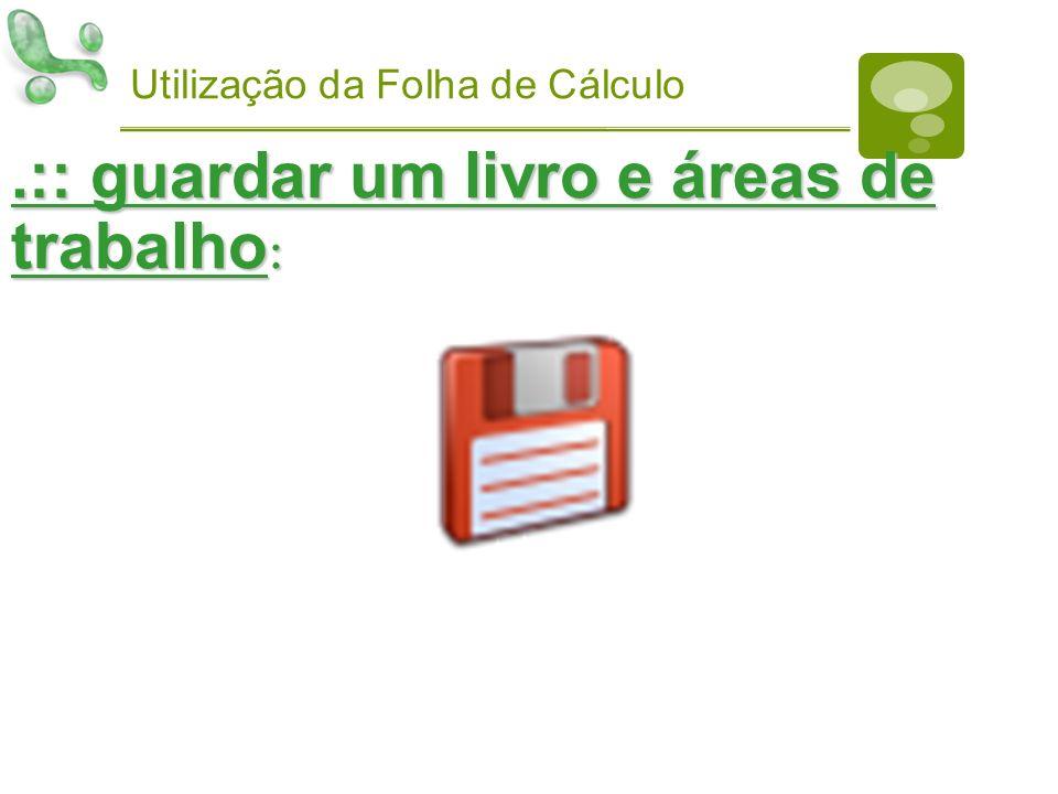 Utilização da Folha de Cálculo.:: guardar um livro e áreas de trabalho :