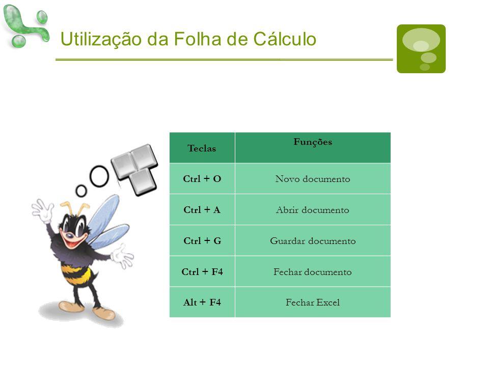 Utilização da Folha de Cálculo Teclas Funções Ctrl + ONovo documento Ctrl + AAbrir documento Ctrl + GGuardar documento Ctrl + F4Fechar documento Alt +