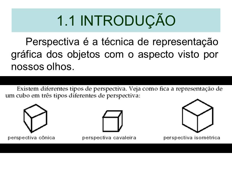 1.1 INTRODUÇÃO Perspectiva é a técnica de representação gráfica dos objetos com o aspecto visto por nossos olhos.