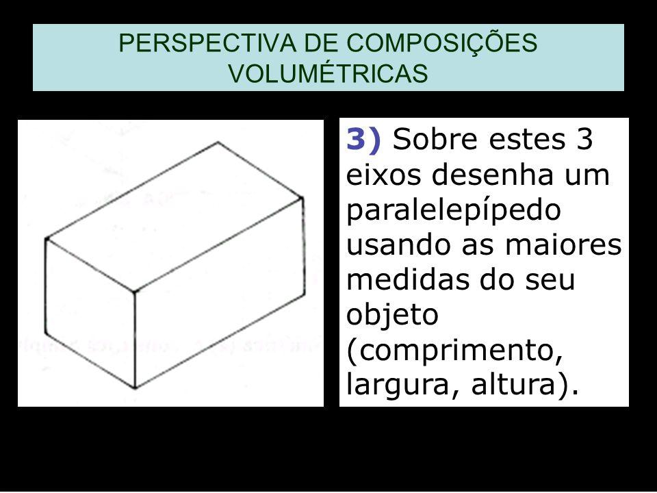 3) Sobre estes 3 eixos desenha um paralelepípedo usando as maiores medidas do seu objeto (comprimento, largura, altura).